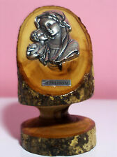 Beautiful Silver Virgin Mary And Child On a Real Tree Trunk From Bethlehem Exc C
