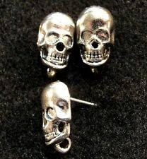 50Pcs. WHOLESALE Tibetan Silver 3D SKULL  Earring Posts Studs Findings Q0800