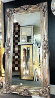 Large Antique Silver Ornate Vintage Bevelled Standing Wall Mirror 204x102cm New