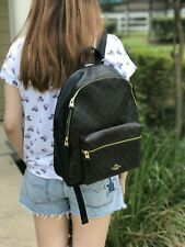 NWT WOMEN'S COACH COATED CANVAS AND LEATHER CHARLIE BACKPACK BAG BLACK F58314