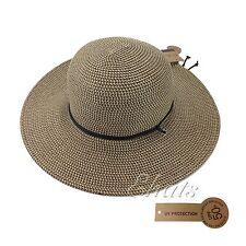 Ladies Wide Brim Beach Summer Floppy Outdoor UVA/UVB Protection Sun Hat Brown