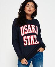 New Womens Superdry Osaka State Crew Neck Sweatshirt Midnight Marl Twill