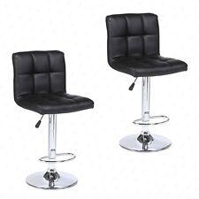 Set of 2 Modern Design Bar Stools Swivel Leather Adjustable Pub Chair In Black