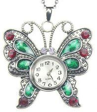 Red Green Enamel Butterfly Necklace Watch 18mm Snap In Watch