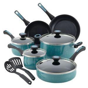Paula Deen 12 Piece Riverbend Aluminum Nonstick Cookware Set Gulf Blue Speckle