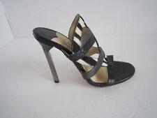 Jimmy Choo Black Multi Leather Vanisa Strappy Slide Sandals Size 37.5 Heel Mule