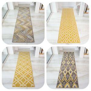 Yellow Ochre Hallway Carpet Runner Rugs Mustard Grey Long Low Pile Hall Rugs New