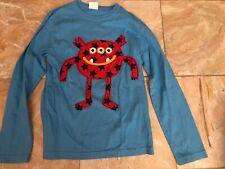 Mini Boden Boys Long Sleeve Monster Shirt 7 8 Guc