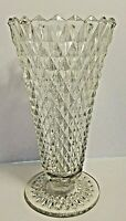 Vintage Pressed Glass Clear English Hobnail Vase 8 Inches Tall
