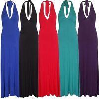New Ladies Plus Size Halter Neck Tie Boob Gathering Jersey Maxi 16-22