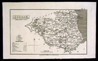 1824 Whittaker Map - Durham  England UK Antique Britain