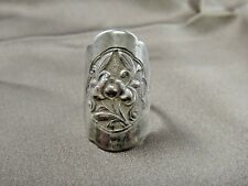 Vintage Floral Design Flower Ring with Chinese Hallmark Inside Flexible Size