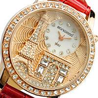 JT_ Women Lady Eiffel Tower Dial Faux Leather Band Quartz Wrist Watch Luxury