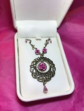 Feminine, Victorian Charm, Bronze color Necklace with Roses
