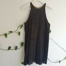 Gorman Black Lace Broderie Anglaise Dress 12 (Fit 10-12 S-M) BrownLining Cotton