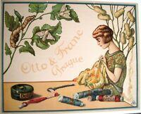 "Gorgeous ""Otto & Franc Prague"" Poster w/ Woman Sewing & Silkworm Moths  *"