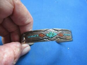 VINTAGE STERLING SILVER NATIVE AMERICAN INLAY TURQUOISE CORAL CUFF BRACELET