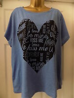 """NEW LADIES """"GEORGE"""" BLUE WITH """" LOVE"""" MOTIF  TOP, SIZE 16"""