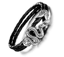 Biker Snake Charms Stainless steel With leather Braided Bracelet Men's jewelry