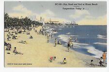 Miami Beach FL Florida Sun Sand Surf Beach Linen Vintage Bicycle Postcard