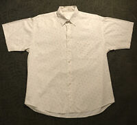 Perry Ellis Mens White Short Sleeve Shirt Sz Large Dotted