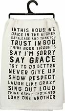 Primitives By Kathy Flour Sack Dish Towel ~ House Rules ~ Free Shipping!