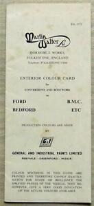 BMC/FORD/BEDFORD Martin Walter Ltd Exterior Colour Card Chart c1967