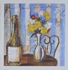 Celeste Peters Wine & Flowers I Poster Bild Kunstdruck 34x34cm - Portofrei