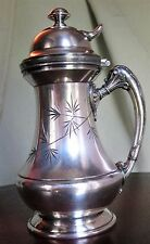 Antique Silver Plated Syrup Pitcher Reed & Barton Patented 212 w/Engraved Leaf
