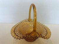 "Vintage Fenton Amber Glass Hobnail Oval Basket Candy Dish, 9"" Tall, 9 1/2"" x 7"""