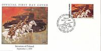 W1 1-1 HISTORY OF WWII MARSHALL ISLANDS FDC COVER 1989 INVASION OF POLAND 1939