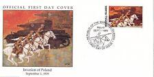W1 1-1 storia della seconda guerra mondiale Isole Marshall FDC COVER 1989 invasione della Polonia 1939