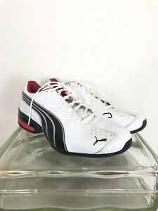 Puma mens 9.5 white and red leather sneakers EUC