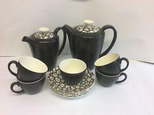 Poole Pottery Mid Century Twintone Black Pebble Coffee Set Robert Jefferson