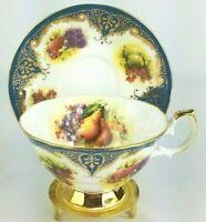 Elizabethan Fruit & Gold Fine Bone China Hand Decorated Teacup Saucer - England