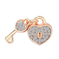 1pcs Rose Gold Heart Lock-Key CZ crystal Charm Bead Fit Bracelet