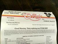 Vintage Disney Star Cruise Star Ship Oceanic itinerary