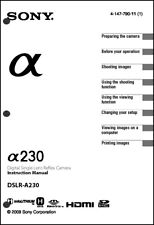 Sony DSLR Alpha A230 Digital Camera User Guide Instruction  Manual