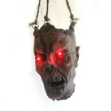 Lifesize Lighted Eyes Zombie Head Hanging Halloween Party Haunted House Prop