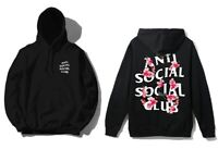 DS Anti Social Social Club ASSC White logo Kkoch Black flower Hoodie in hand