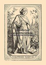 Der heilige Justinus Martir Märtyrer Philosophen St. Holzstich Sankt A4 1069
