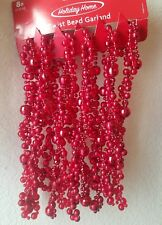 Holiday Home Red Twisted Bead Garland - 8 ft. New in Package