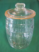 Vintage Large Glass Planters Peanut Jar Salted Peanuts ~ Italy ~ Height 10 1/2""