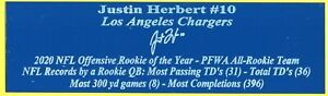 Justin Herbert Autograph Nameplate San Diego Chargers Helmet Jersey Football