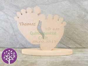 18mm mdf freestanding baby feet birth celebration gift craft blank
