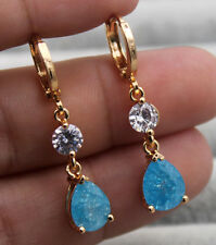 18K Gold Filled - 1.4'' Blue Cherry Stone Topaz Waterdrop Cocktail Gems Earrings