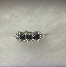 14K White Gold Vintage Sapphire And Diamond Cocktail Ring .60 Ct TW Size 6.5