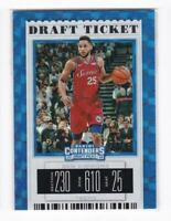 2019 Ben Simmons #/75 Panini Contenders 76ers Draft Ticket Blue Cracked