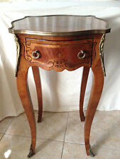 Italian French Louis Xv Style Inlaid Side Table with Bronze Decorations