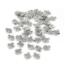 """Lot 50 Silver Plated MADE WITH LOVE Heart Charms 0.35"""" HOT O3E9"""
